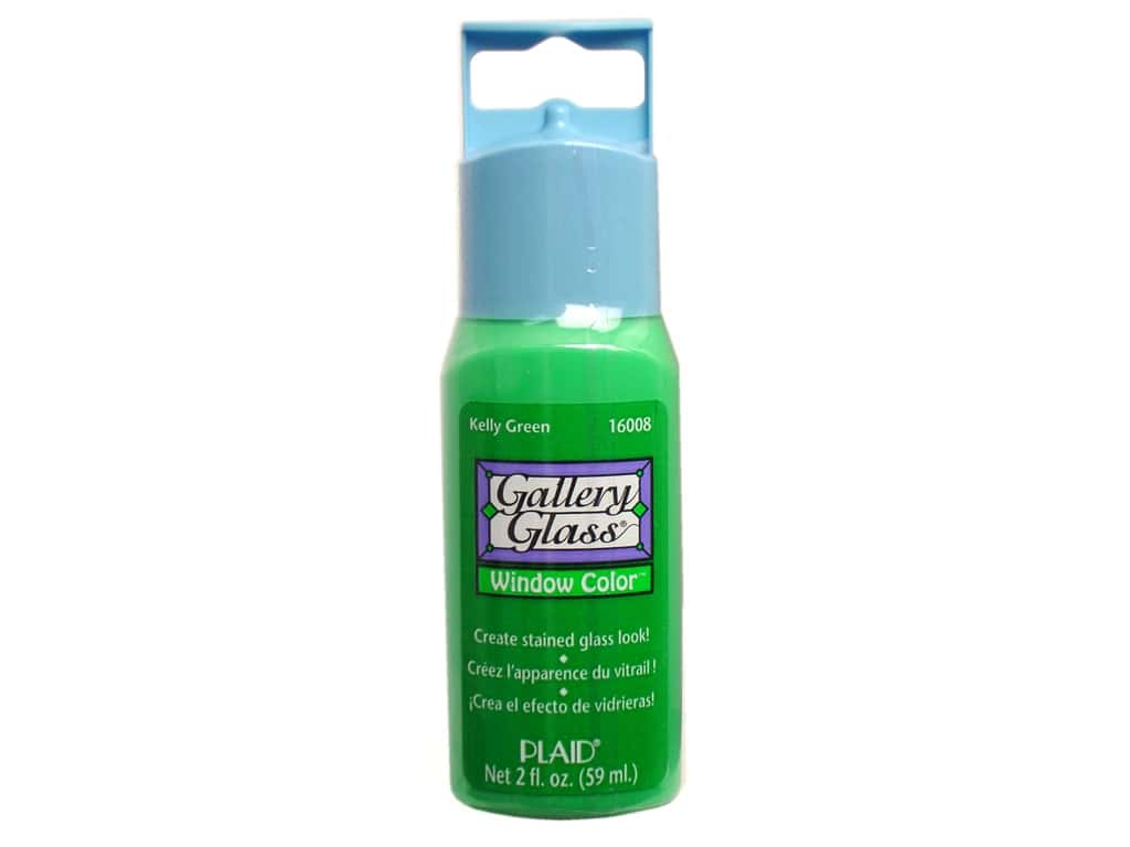 Plaid Gallery Glass Window Color  2 oz. Kelly Green