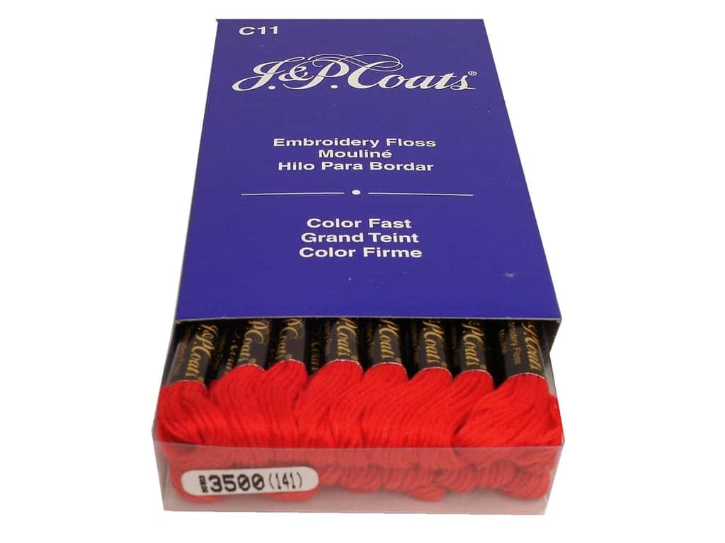 J & P Coats Six-Strand Embroidery Floss #3500 Christmas Red (24 skeins)