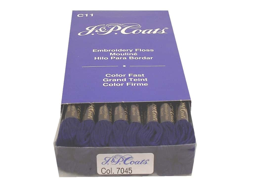 J & P Coats Six-Strand Embroidery Floss #7045 Navy Blue Dark (24 skeins)