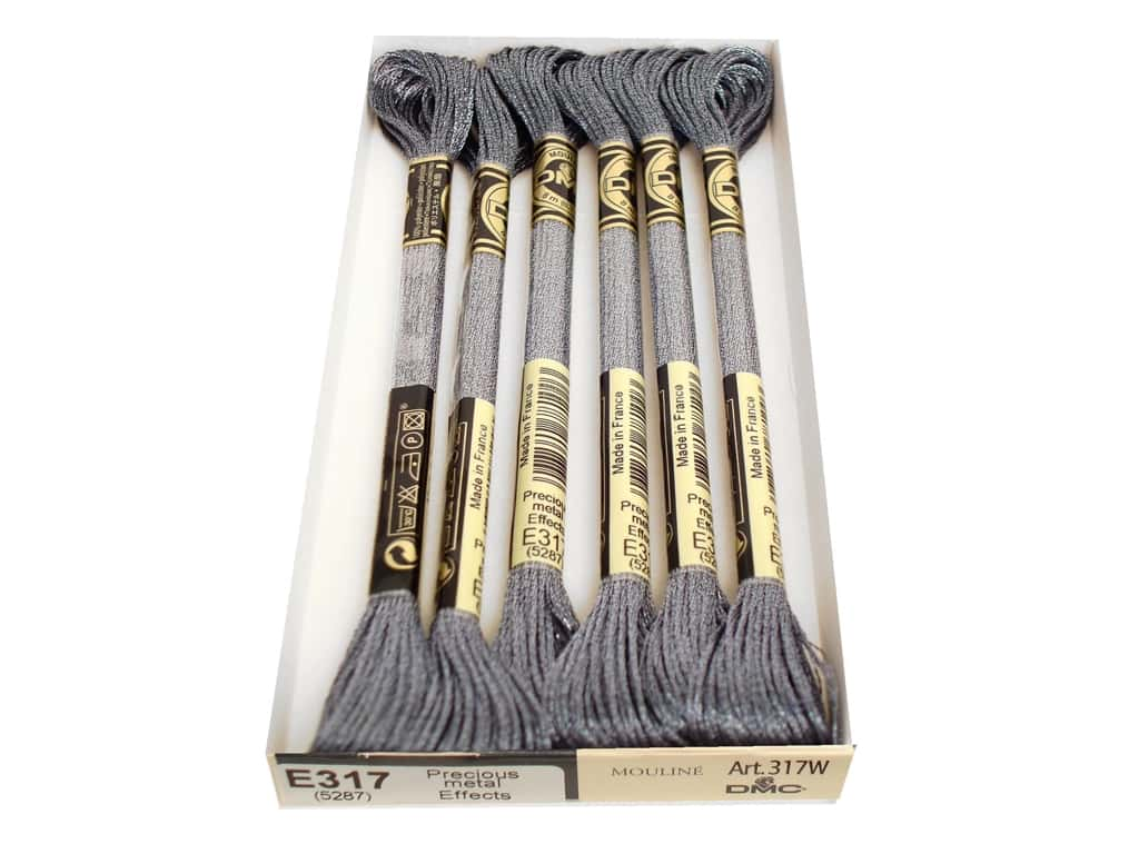 DMC Light Effects Embroidery Floss 8.7 yd. #E317 Precious Metal Effects Titanium (6 skeins)