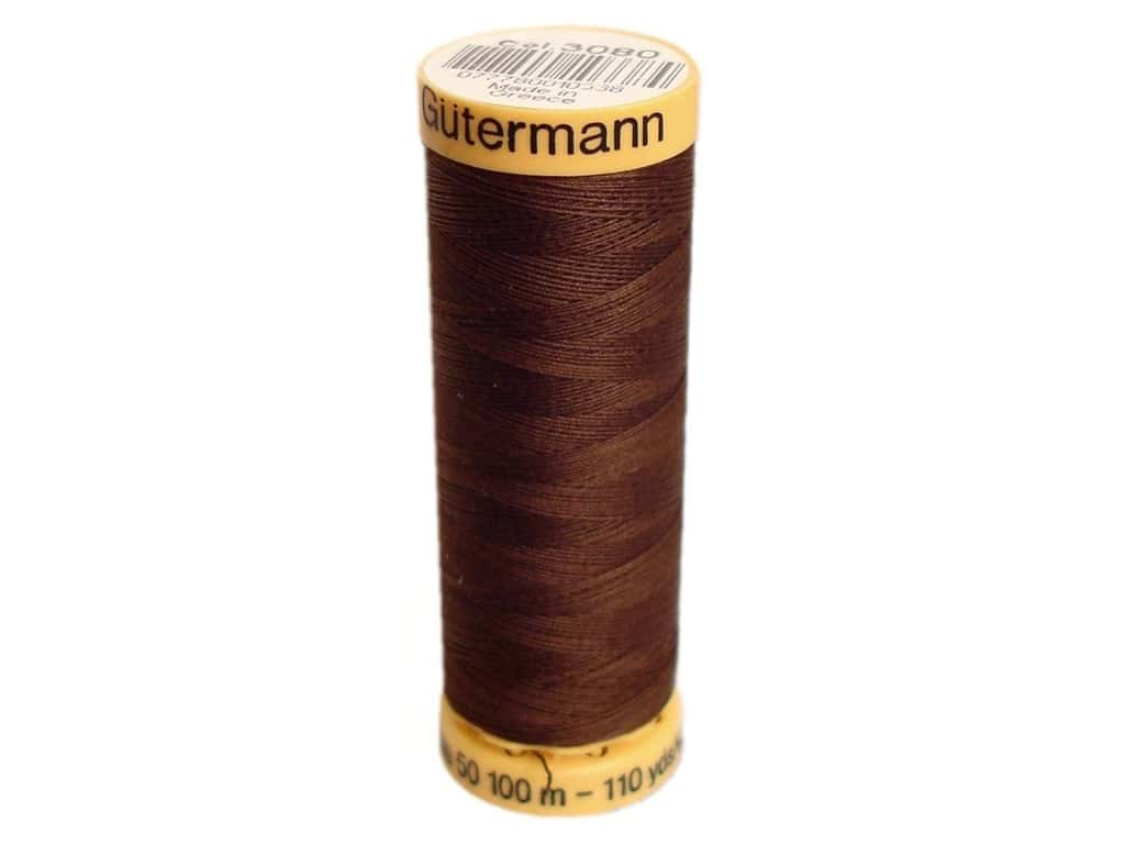 Gutermann 100% Natural Cotton Sewing Thread 109 yd. #3080 Medium Dark Brown