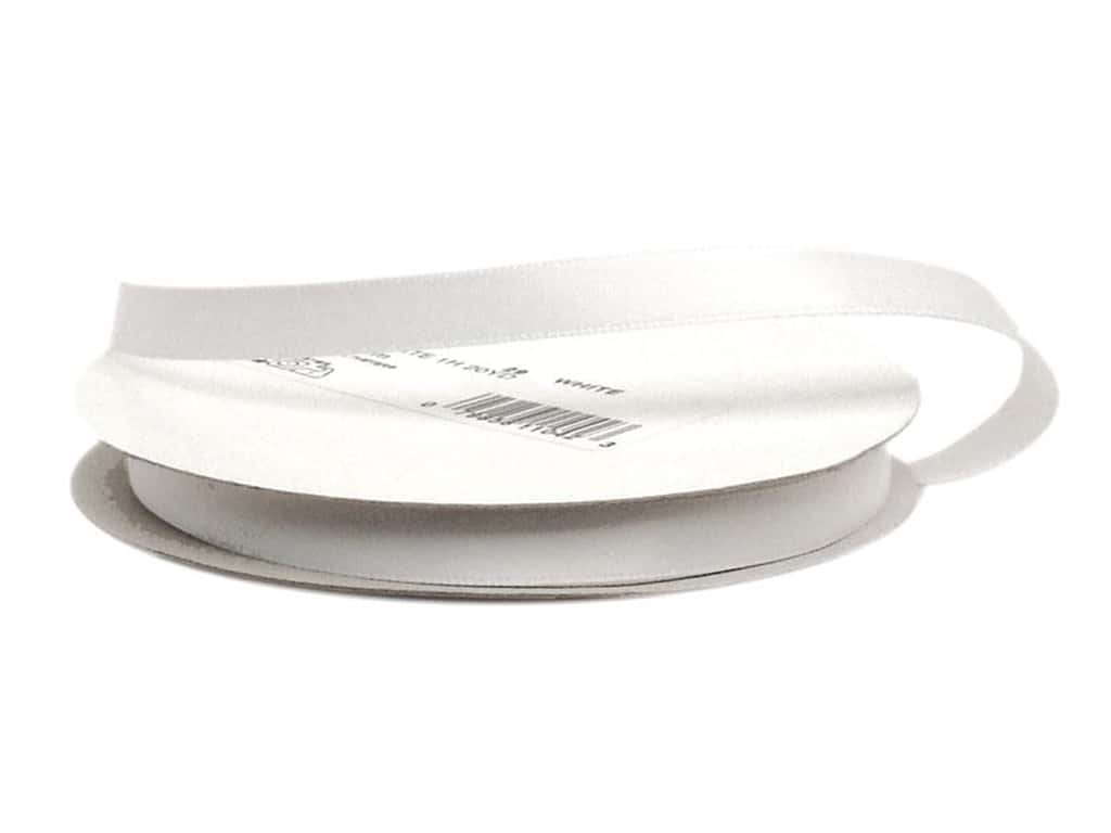 Offray Double Face Satin Ribbon 3/8 in. x 20 yd. White (20 yards)