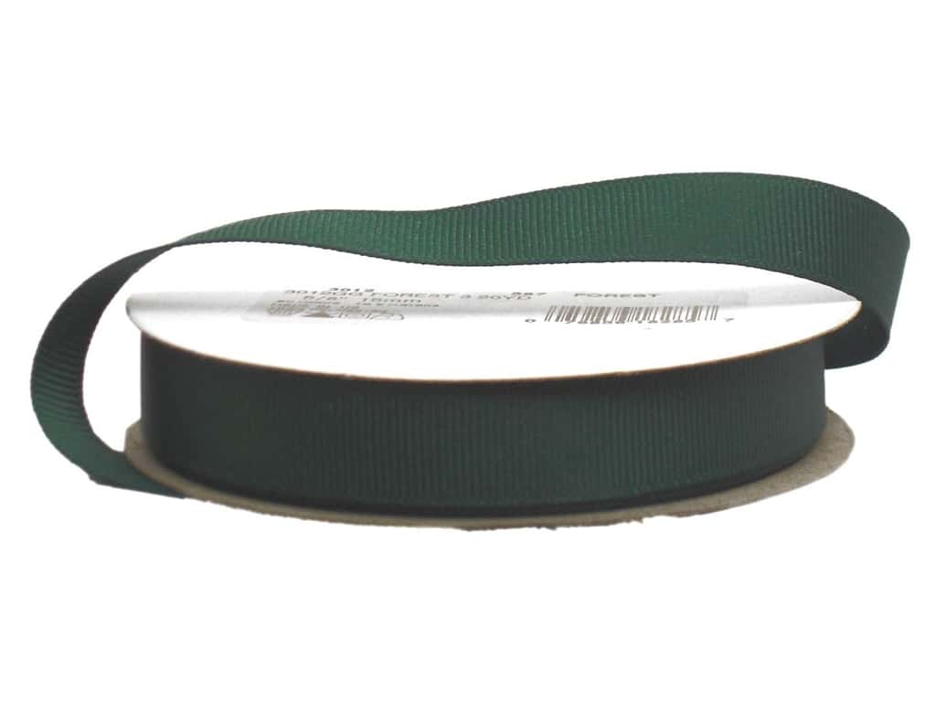 Offray Grosgrain Ribbon 5/8 in. x 20 yd. Forest Green (20 yards)