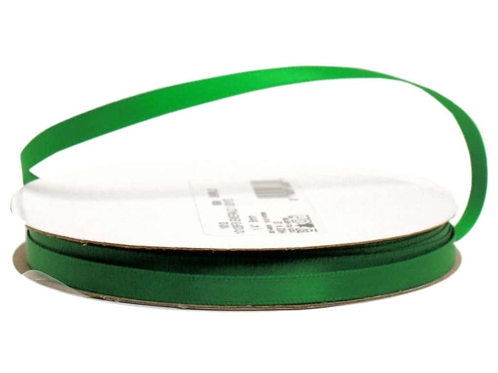 Offray Single Face Satin Ribbon 1/4 in. x 20 yd. Emerald (20 yards)