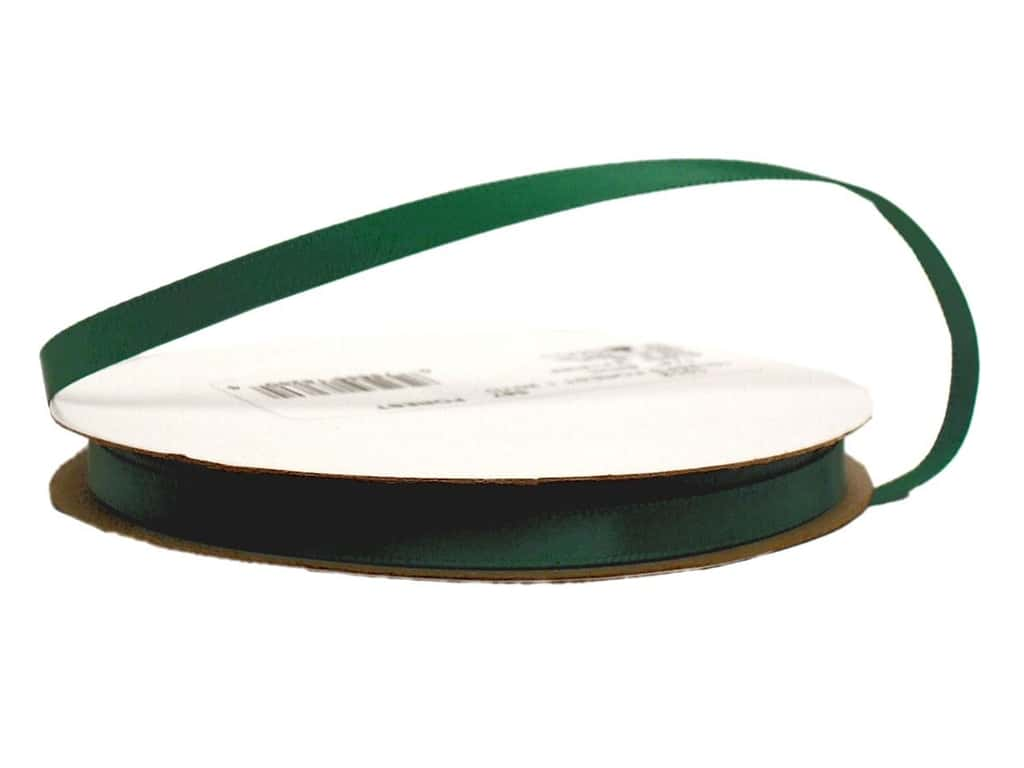Offray Single Face Satin Ribbon 1/4 in. x 20 yd. Forest Green (20 yards)