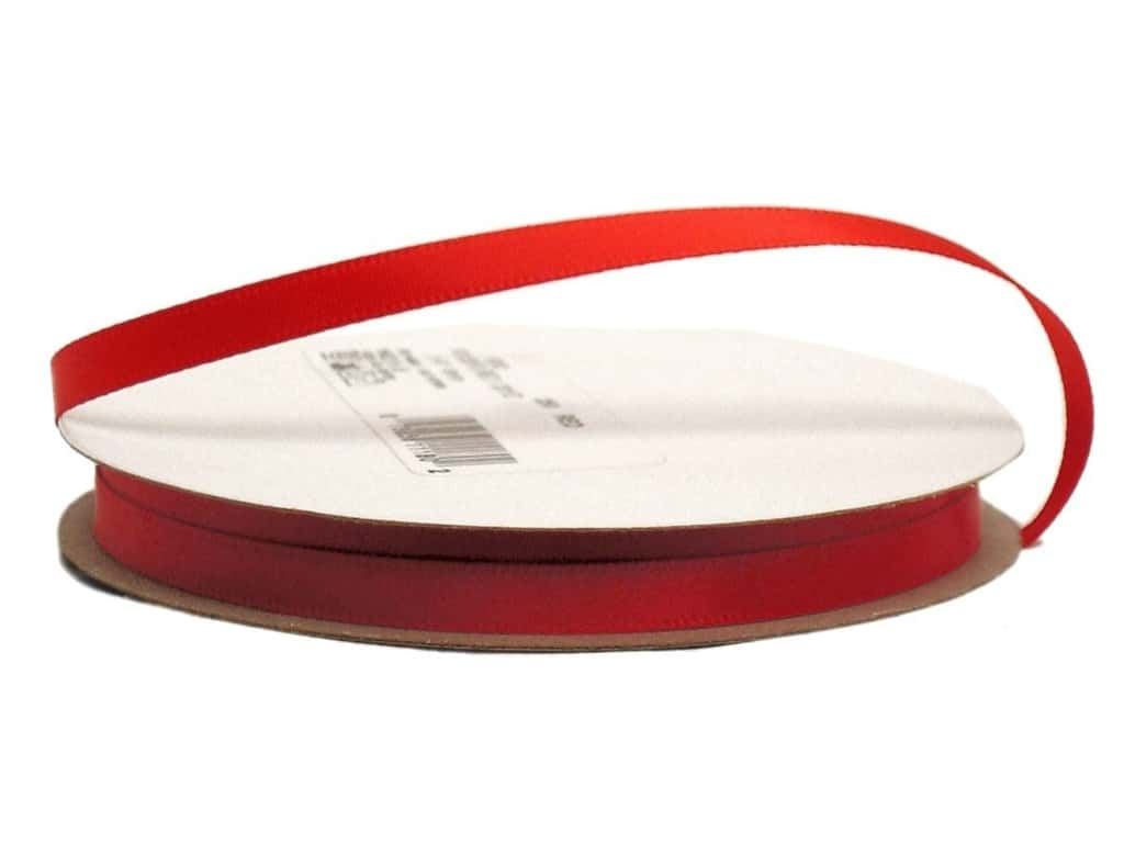 Offray Single Face Satin Ribbon 1/4 in. x 20 yd. Red (20 yards)