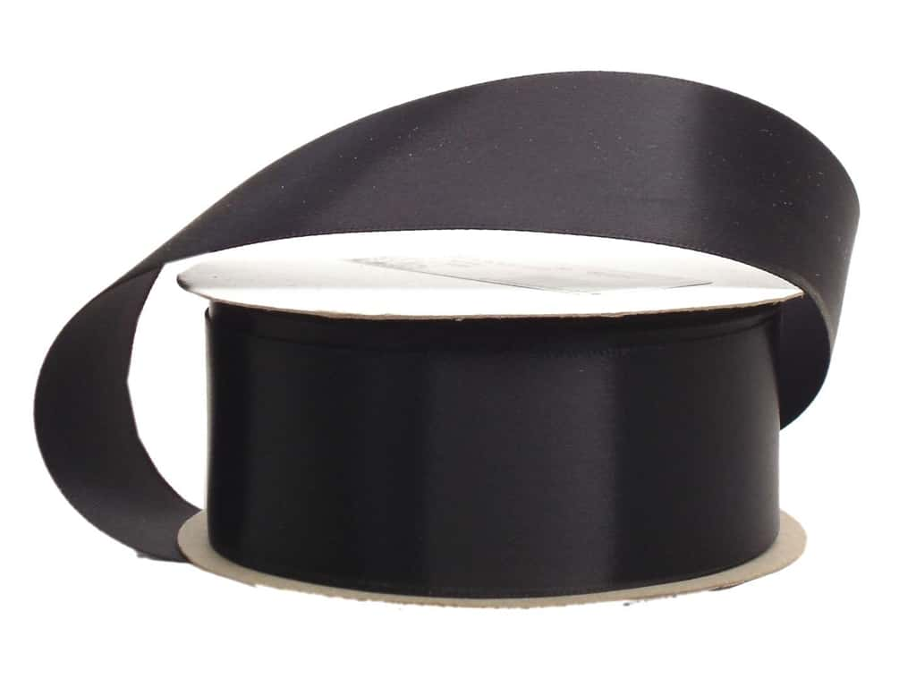 Offray Single Face Satin Ribbon 1 1/2 in. x 10 yd. Black (10 yards)
