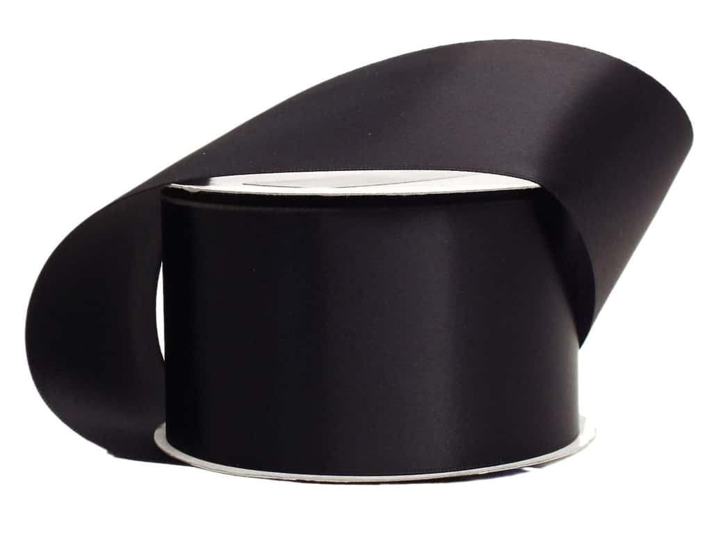 Offray Single Face Satin Ribbon 2 1/4 in. x 10 yd. Black (10 yards)