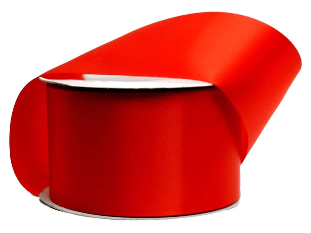 Offray Single Face Satin Ribbon 2 1/4 in. x 10 yd. Red (10 yards)
