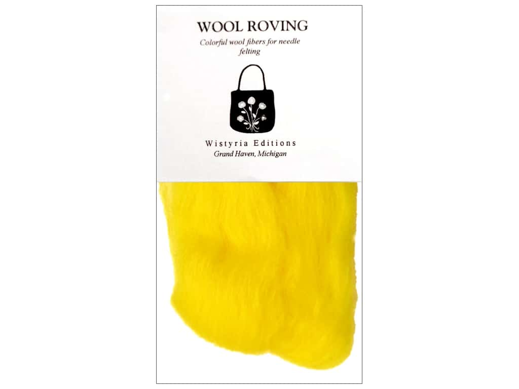 Wistyria Editions Wool Roving 12 in. Yellow