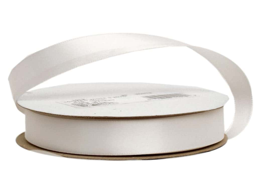 Offray Single Face Satin Ribbon 5/8 in. x 20 yd. White (20 yards)