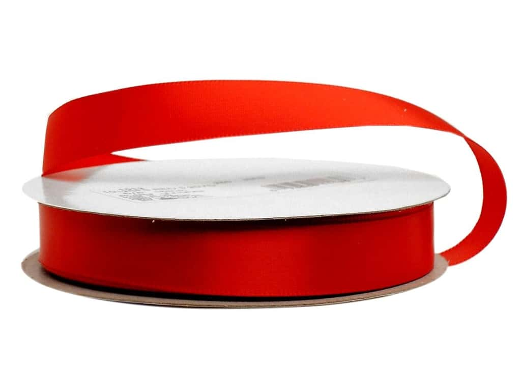 Offray Single Face Satin Ribbon 5/8 in. x 20 yd. Red (20 yards)
