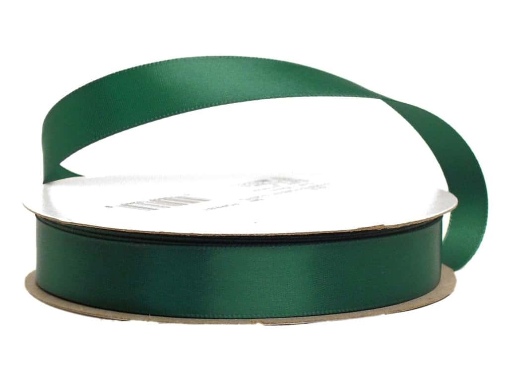 Offray Single Face Satin Ribbon 5/8 in. x 20 yd. Forest Green (20 yards)