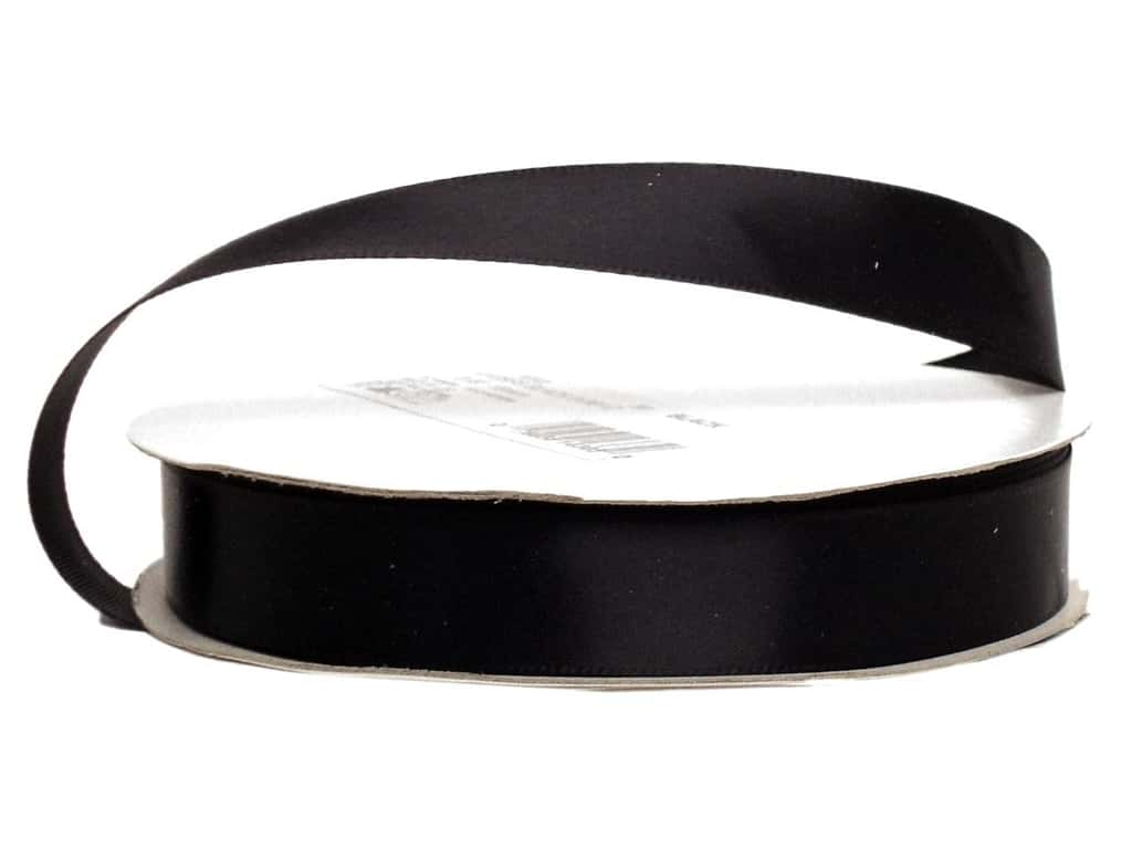 Offray Single Face Satin Ribbon 5/8 in. x 20 yd. Black (20 yards)
