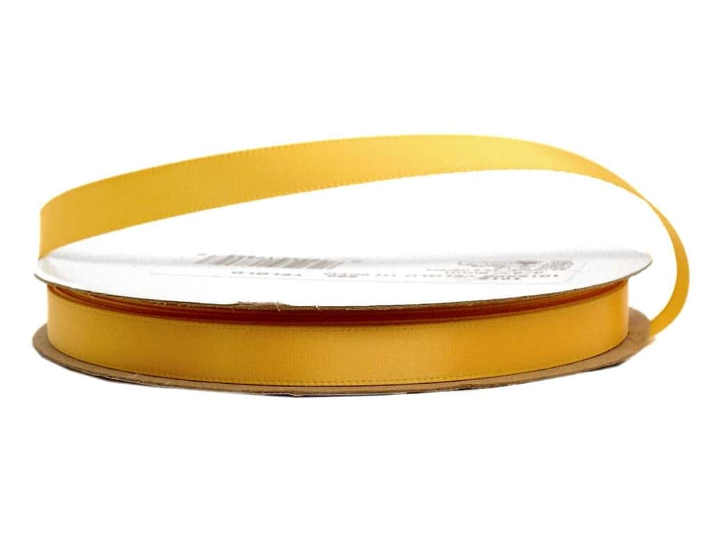 Offray Single Face Satin Ribbon 3/8 in. x 20 yd. Yellow Gold (20 yards)