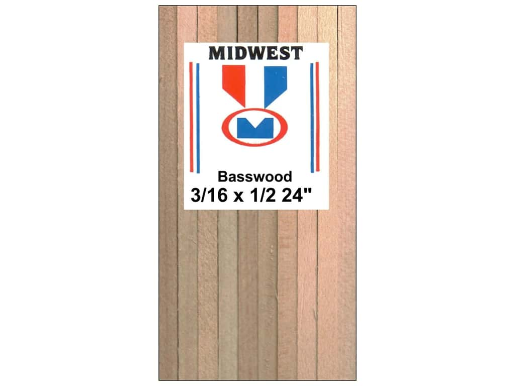 Midwest Basswood Strip 3/16 x 1/2 x 24 in. (15 pieces)