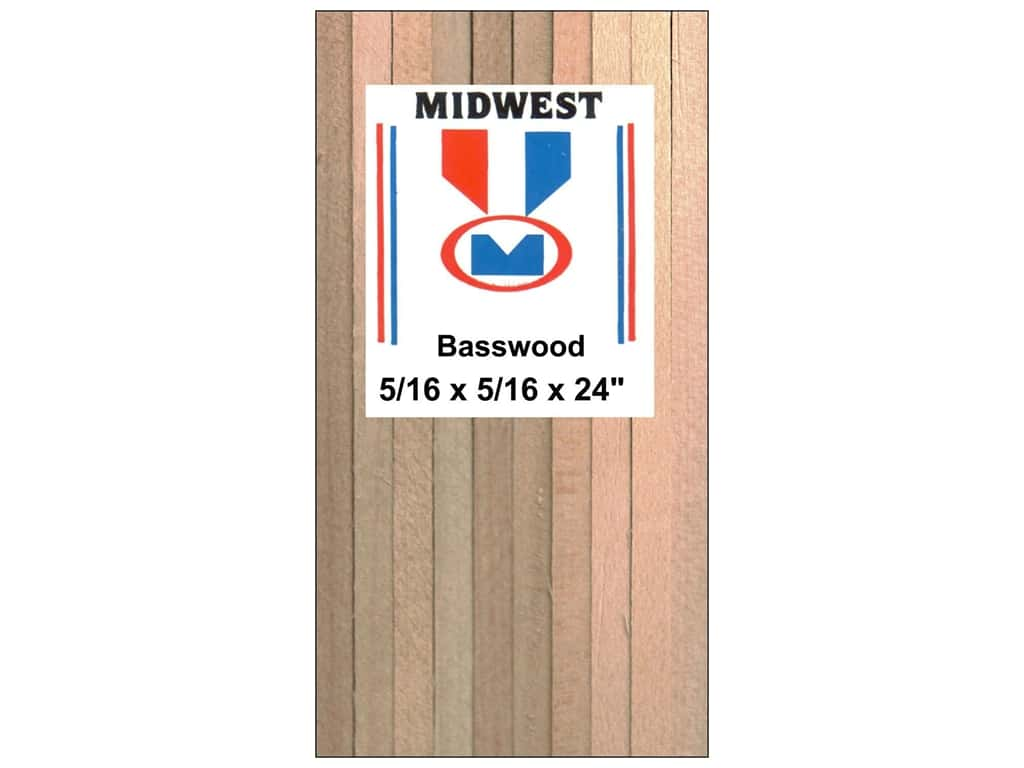 Midwest Basswood Strip 5/16 x 5/16 x 24 in. (18 pieces)