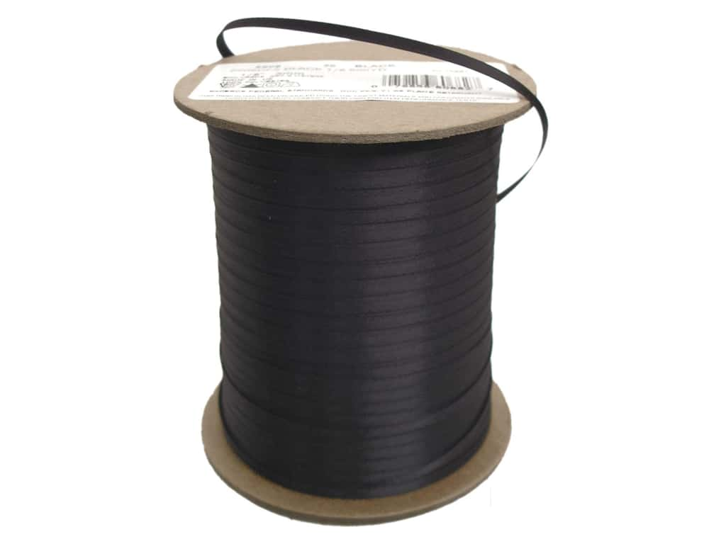 Offray Double Face Satin Ribbon 1/8 in. x 500 yd. Black (500 yards)