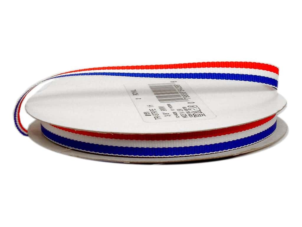 Offray Tri-Stripe Woven Ribbon 3/8 in. Patriotic (10 yards)