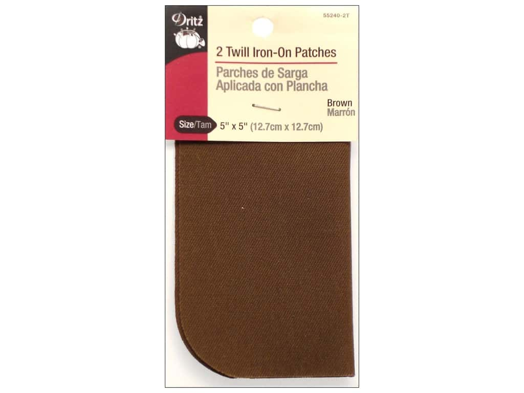 Dritz Twill Iron-On Patches - 5 x 5 in. Brown 2 pc.