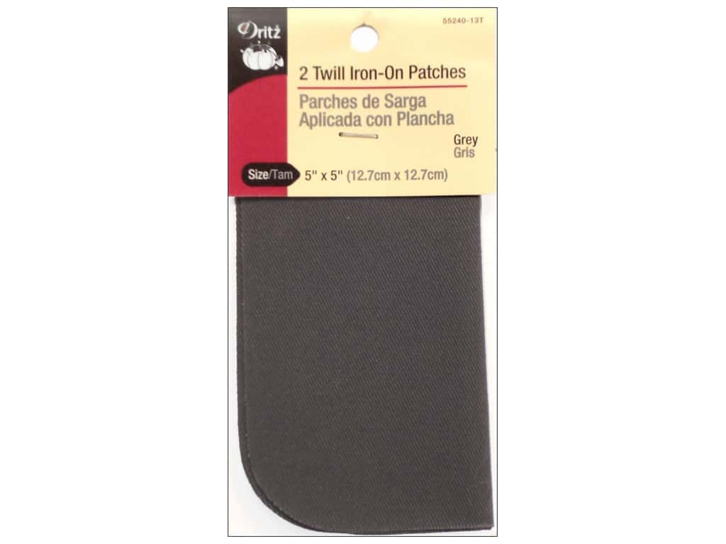 Dritz Twill Iron-On Patches - 5 x 5 in. Grey 2 pc.