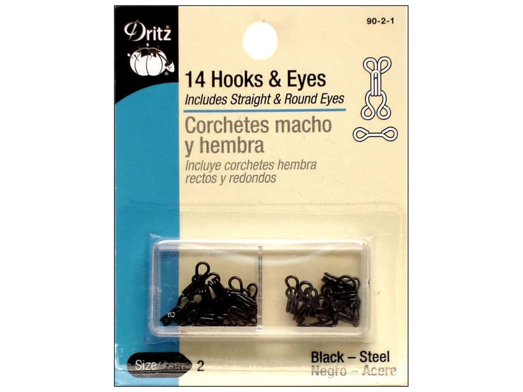 Hooks and Eyes by Dritz Size 2 Black 14 pc.