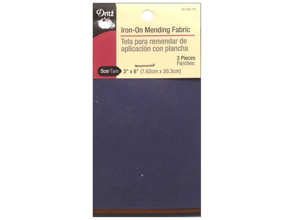 Dritz Iron-On Mending Fabric - 3 x 8 in. Dark Assorted 3 pc.