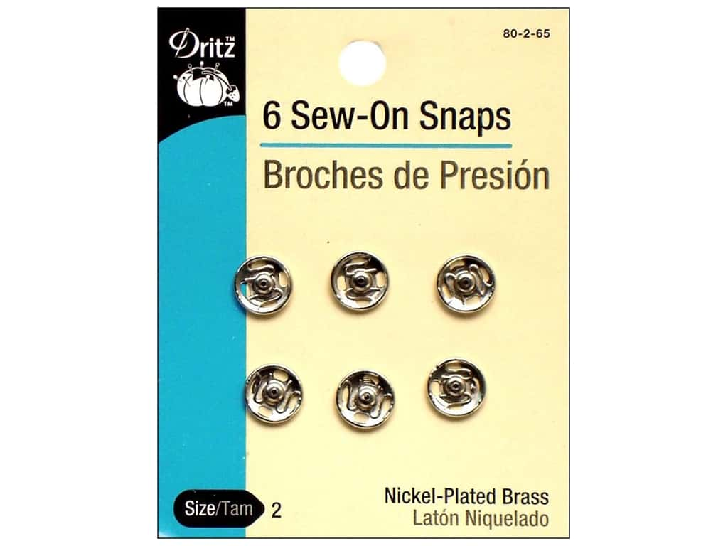 Sew-On Snaps by Dritz Size 2 Nickel 6 pc.