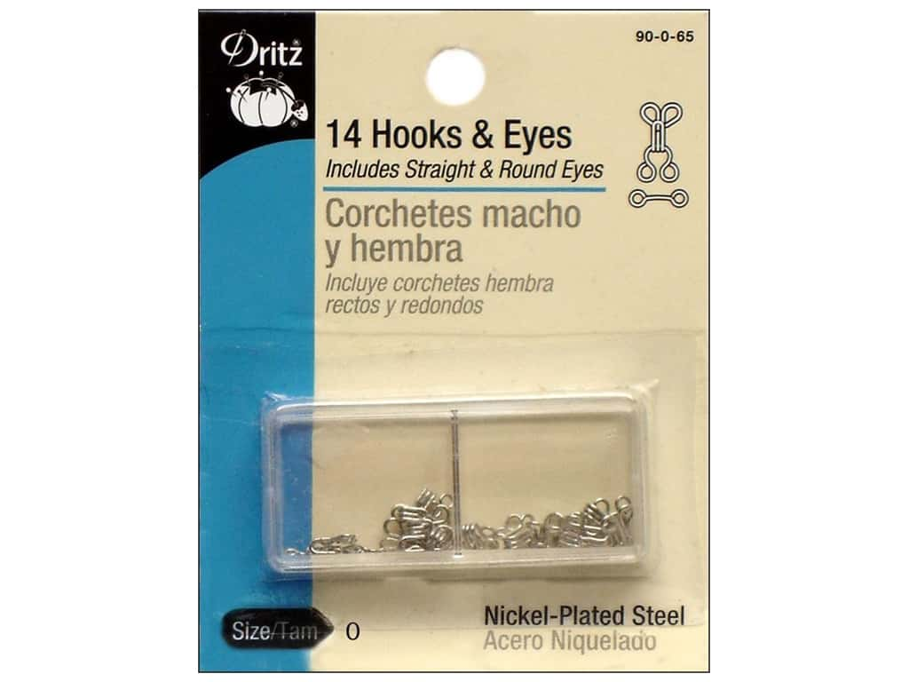 Hooks and Eyes by Dritz Size 0 Nickel 14 pc.