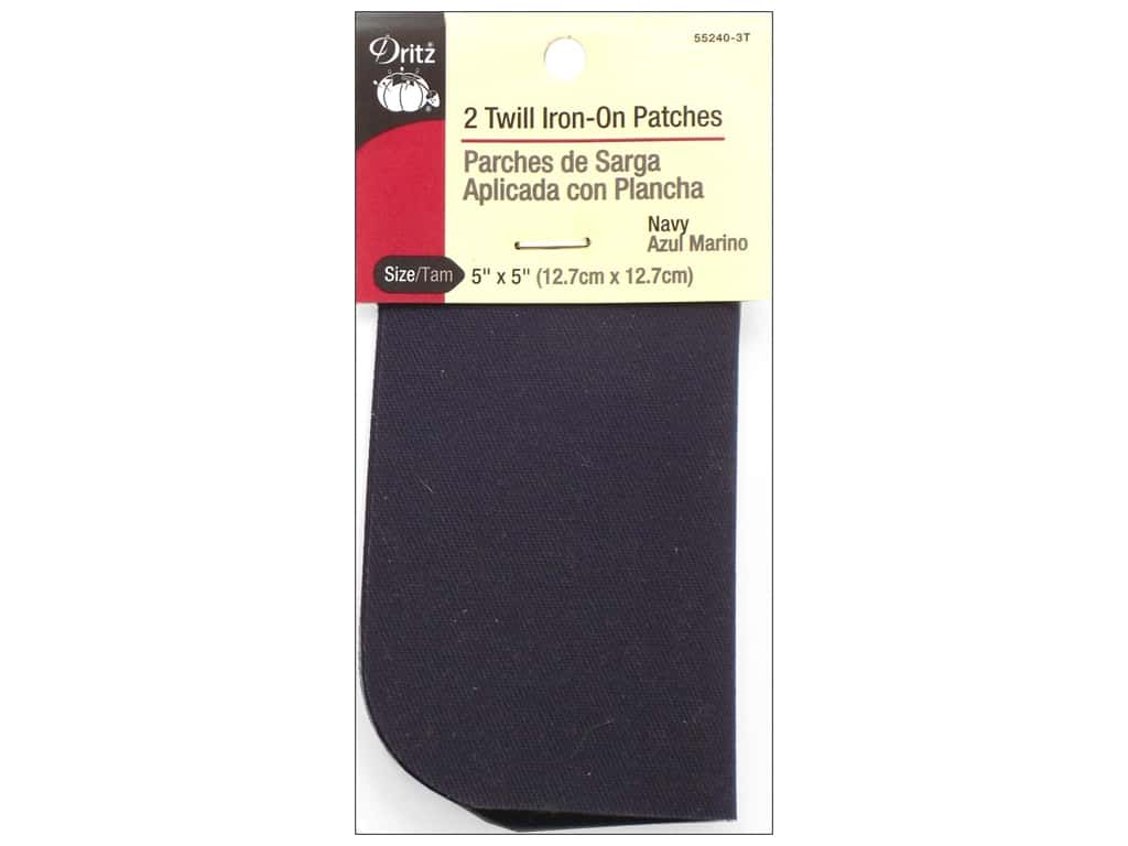 Dritz Twill Iron-On Patches - 5 x 5 in. Navy 2 pc.
