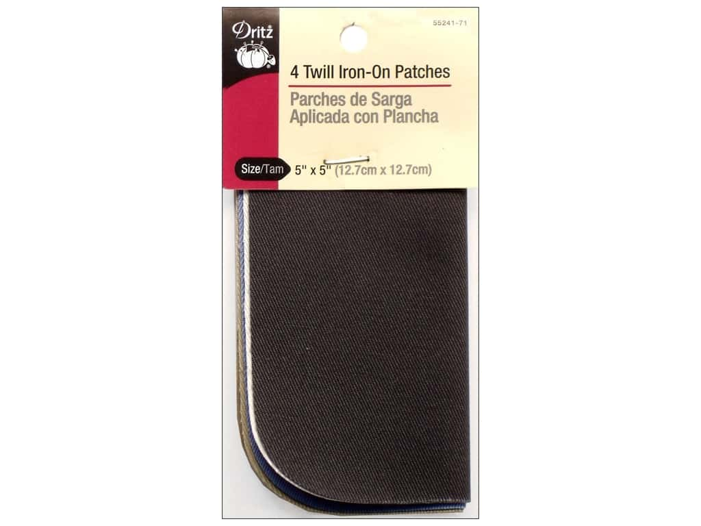 Dritz Twill Iron-On Patches - 5 x 5 in. Light Assorted 4 pc.