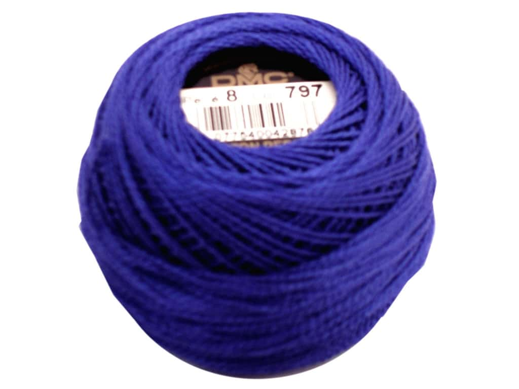 DMC Pearl Cotton Ball Size 8 #0797 Royal Blue (10 balls)