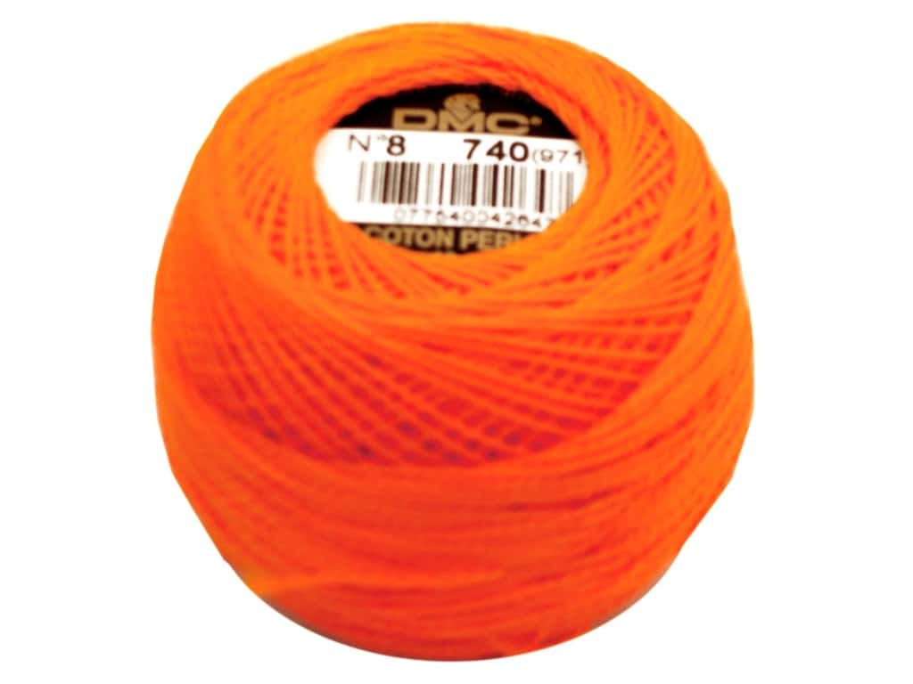 DMC Pearl Cotton Ball Size 8 #0740 Tangerine (10 balls)