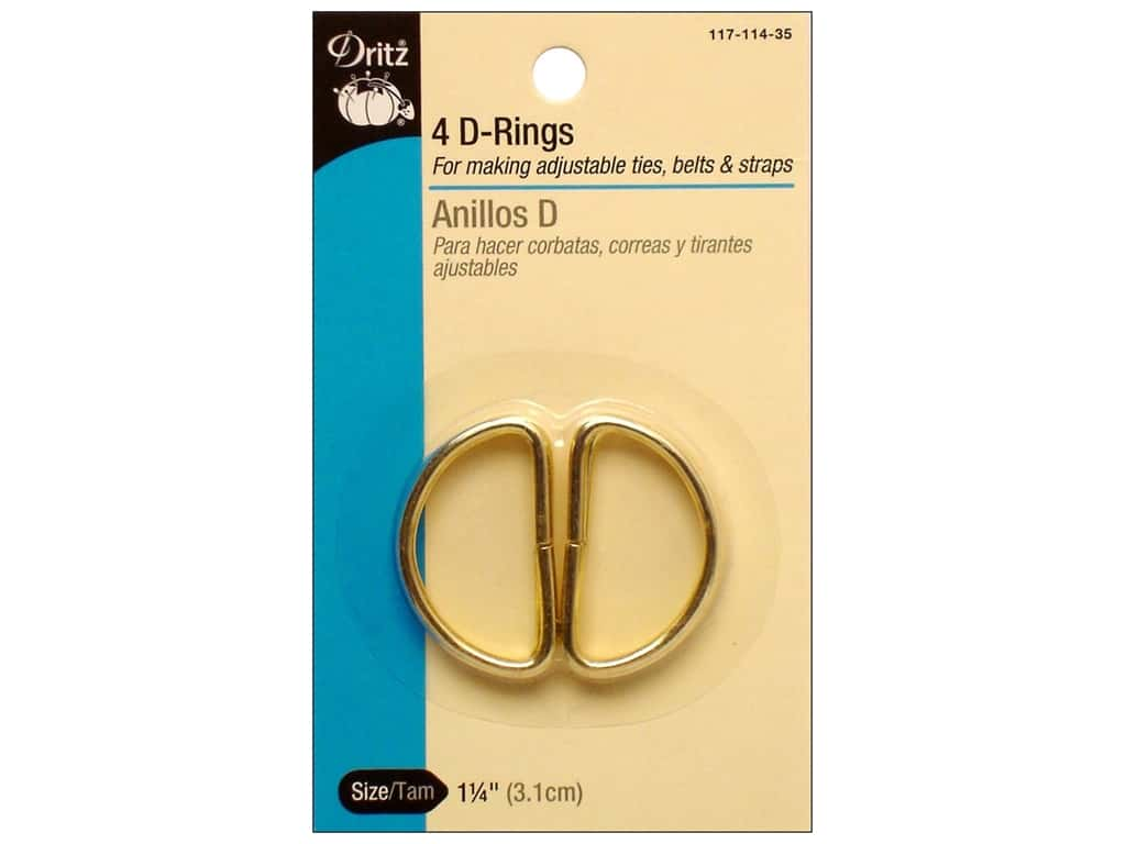 D Rings by Dritz 1 1/4 in. Gilt 4pc.
