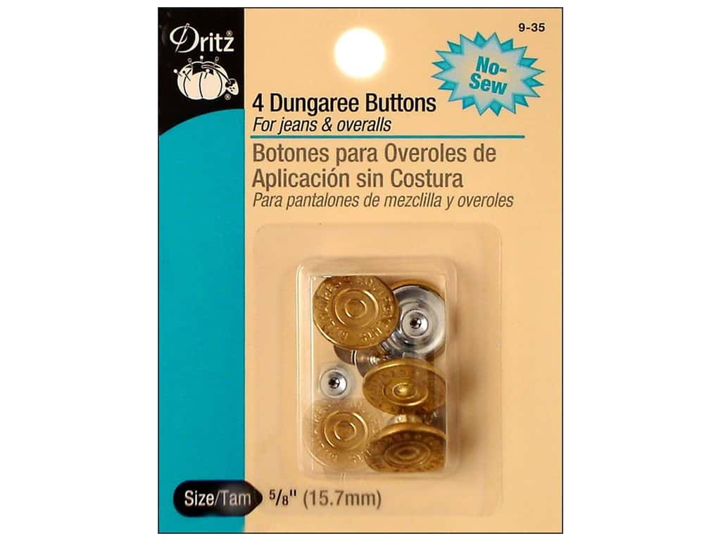 Dritz No Sew Dungaree Buttons - Gilt 4 pc.