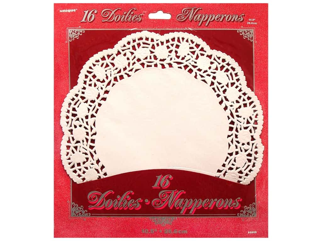 Unique Paper Lace Doilies Round 10 1/2 in. White 16 pc.