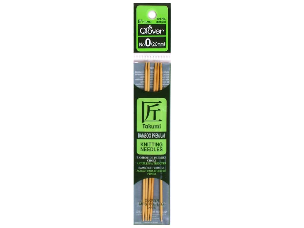 Clover Bamboo Knitting Needle Double Point 5 in. Size 0 (2 mm) 5 pc.