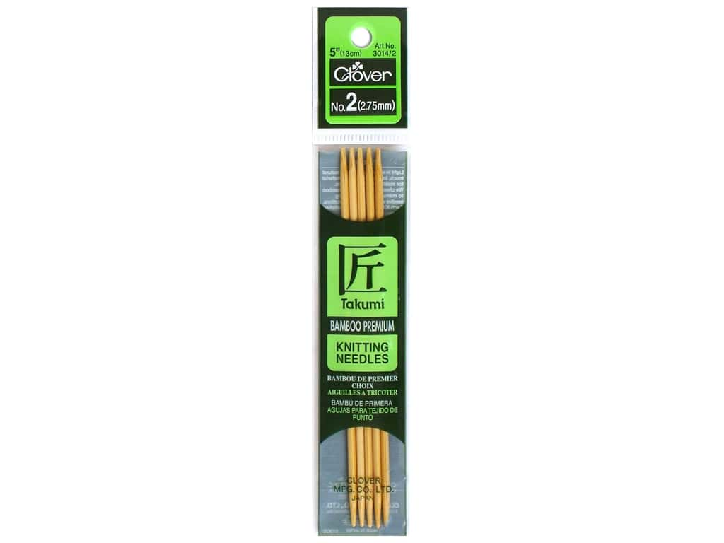 Clover Bamboo Knitting Needle Double Point 5 in. Size 2 (2.75mm) 5 pc.