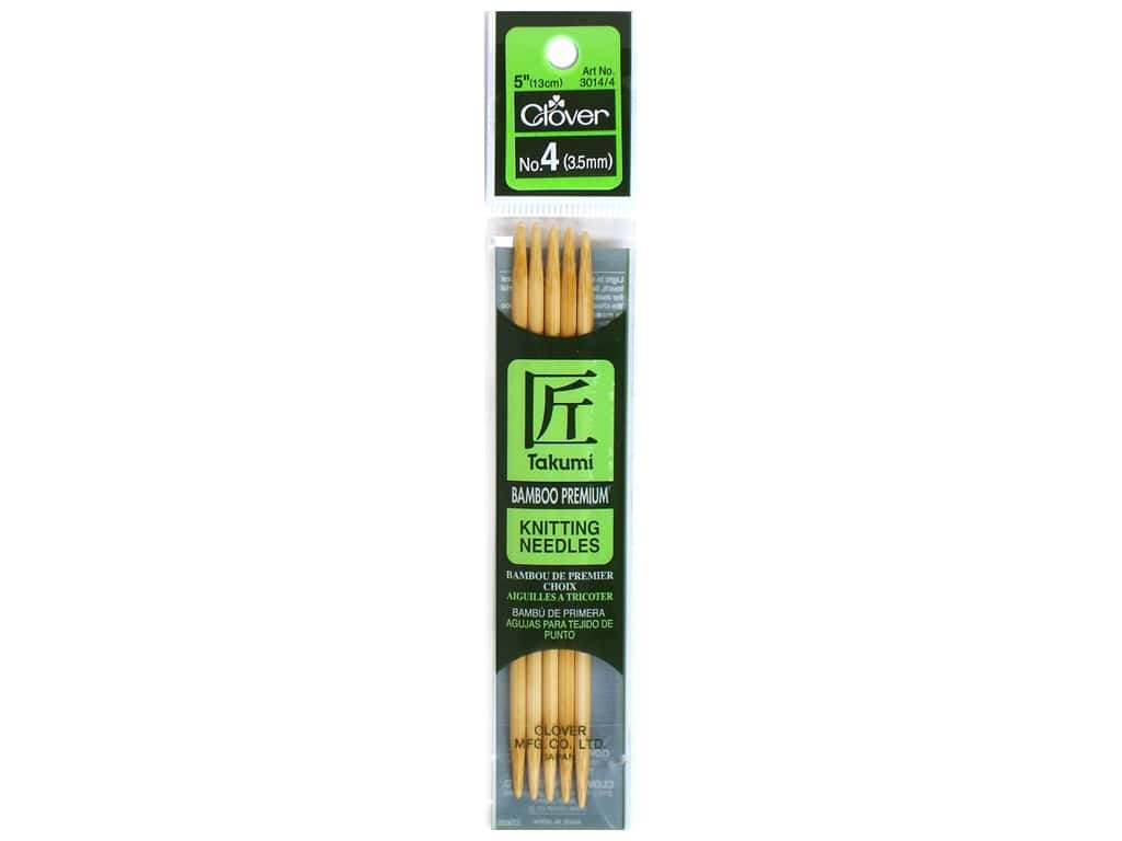Clover Bamboo Knitting Needle Double Point 5 in. Size 4 (3.5mm) 5 pc.