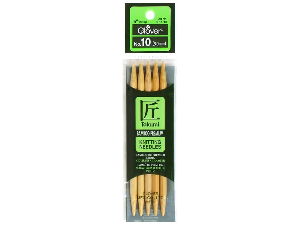 Clover Bamboo Knitting Needle Double Point 5 in. Size 10 (6.0mm.) 5 pc.