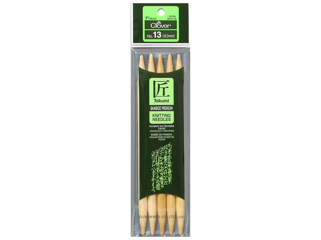 Clover Bamboo Knitting Needle Double Point 7 in. Size 13 (9 mm) 5 pc.