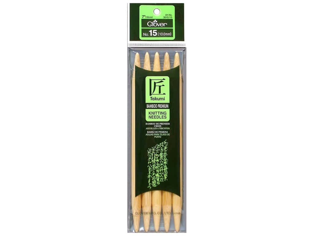 Clover Bamboo Knitting Needle Double Point 7 in. Size 15 (10 mm) 5 pc.