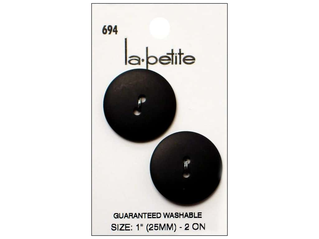 LaPetite Buttons - 2 Hole - 1 in. Black 2 pc.