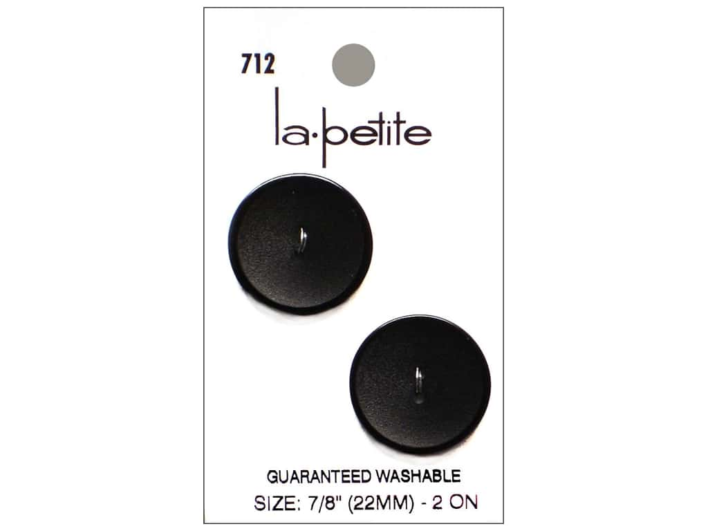 LaPetite 2 Hole Buttons 7/8 in. Black #712 2pc.