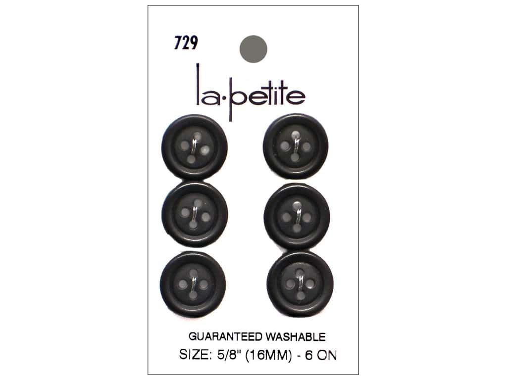 LaPetite 4 Hole Buttons 5/8 in. Black #729 6pc.
