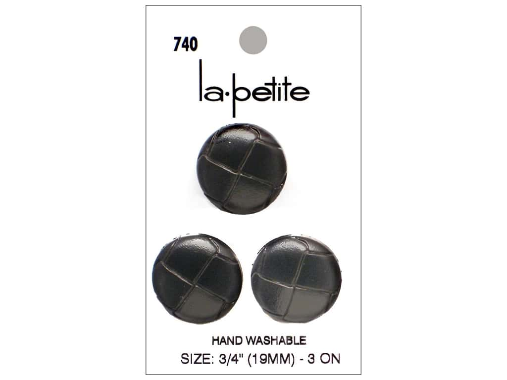 LaPetite Shank Buttons 3/4 in. Black Leather #740 3pc.