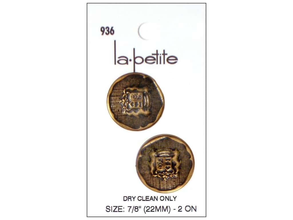 LaPetite Shank Buttons 7/8 in. Gold with Crest #936 2pc.
