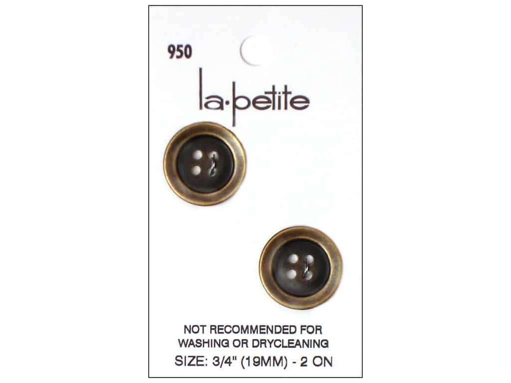 LaPetite 4 Hole Buttons 3/4 in. Gold #950 2pc.
