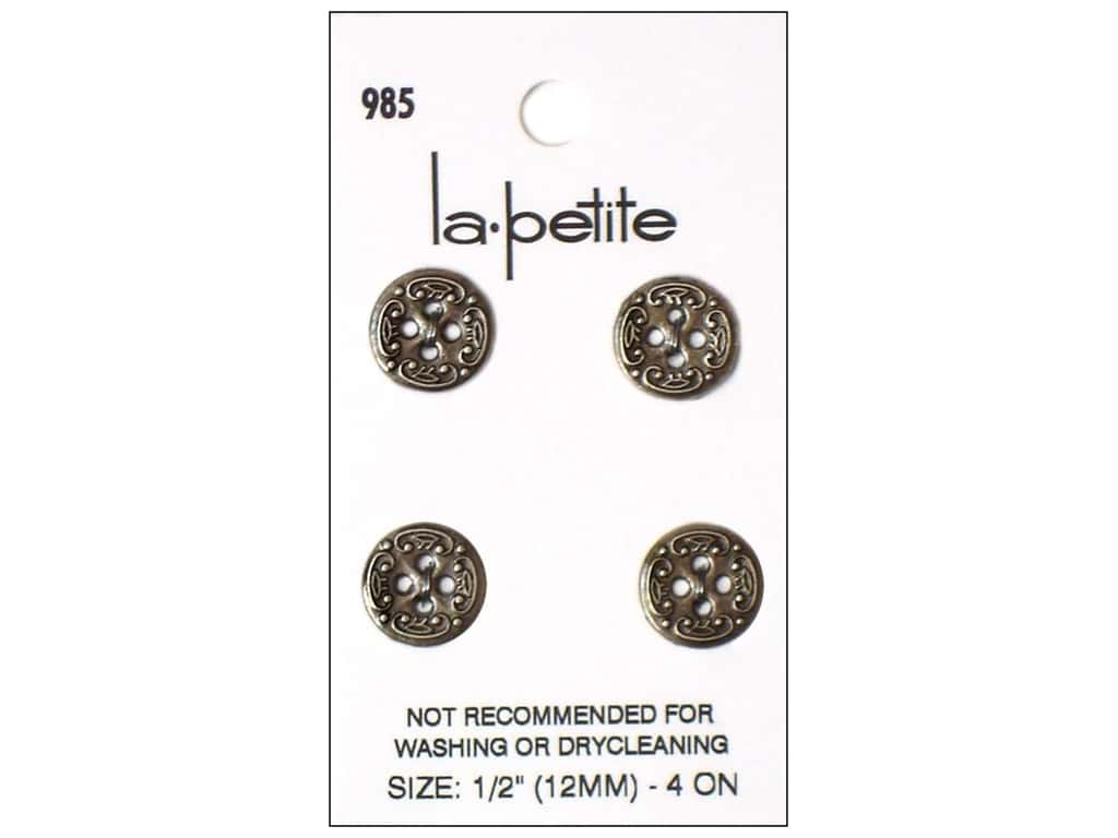 LaPetite 4 Hole Buttons 1/2 in. Antique Silver #985 4pc.