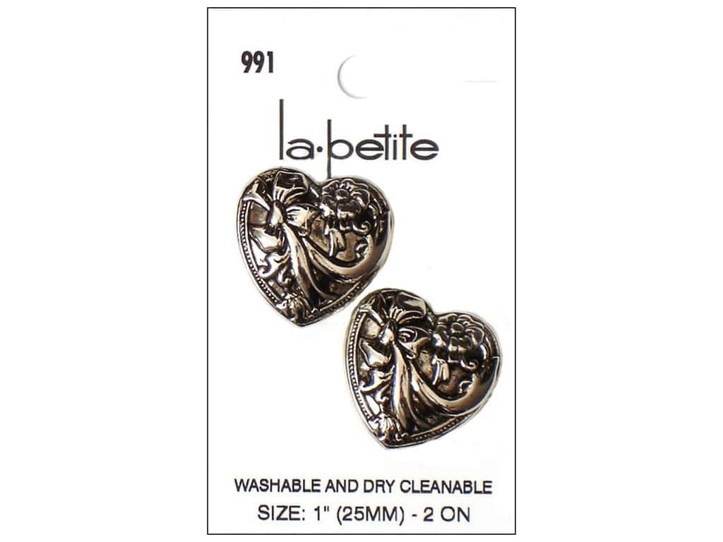 LaPetite Shank Buttons 1 in. Victorian Heart #991 2pc.